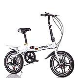 Suspensión Unisex Bicicleta Plegable 16 Pulgadas 6 velocidades Freno de Disco Doble Aleación de Aluminio Rueda Integral...