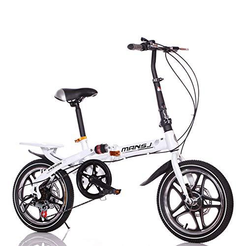 Suspensión Unisex Bicicleta Plegable 16 Pulgadas 6 velocidades Freno de Disco Doble Aleación de Aluminio Rueda Integral Estudiante Niño Ciudad del Viajero Acero de Alto Carbono Bicicleta,White