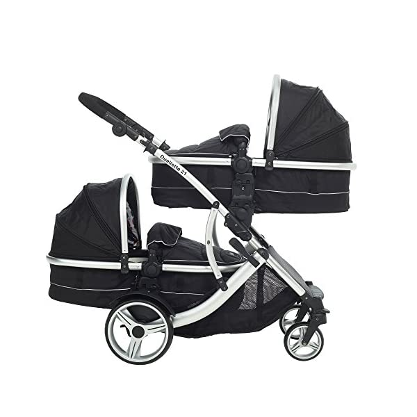Duellette 21 Combo Twin Tandem Pushchair Baby Newborn carrycots Pram Travel system : 2 Pramette/seat units, 2 FREE Black footmuffs 2 Rain covers, Midnight Black by Kids Kargo Kids Kargo Demo video please see link https://www.youtube.com/watch?v=X_tEcnQ8O8E Compatible with car seats; Kids Kargo, Britax Baby safe or Maxi Cosi adaptors. Versatile. Suitable for Newborn Twins: Both carrycots have mattress and soft lining, which zip off. Remove lining and lid, when baby grows out of carrycot mode. Converts to a full sized seat unit, with 5 point harness. 2