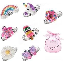 Juego de anillos ajustables para niñas pequeñas – colorido unicornio, anillos de mariposa para niños, conjunto de joyas para niños