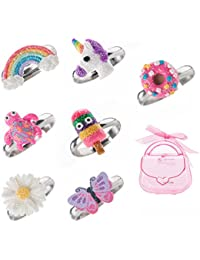 Ring-Set für kleine Mädchen, niedlicher bunter Einhorn, Schmetterling, aus Polymerton, verstellbar, 7-teilig