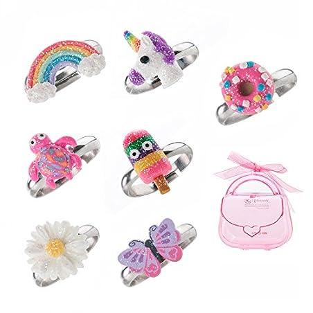 Ni os ajustable anillo brillante Multi Cute de pol mero de color anillos para ni as hecho a mano joyer a Set de regalos de N