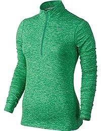 Nike Element Half Zip - Camiseta para mujer, color verde / plateado, talla S