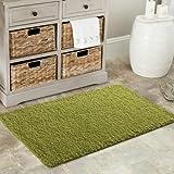 Grün Weiche Shaggy Matten Maschinenwaschbar Rutschfeste Schlafzimmer Teppiche (7Größen erhältlich), plastik, rose, 40 x 60 cm