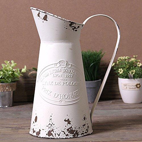 Vancore Vase, Krug, Nostalgie-Stil, Shabby Chic-Stil, groß, aus Metall, zur Dekoration weiß