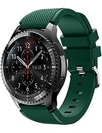 Correa de reloj 22mm, happytop deportes relojes de pulsera silicona correa de muñeca de repuesto para Samsung Gear S3frontera, hombre, verde, S