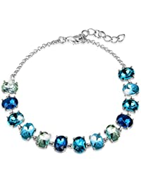 Déstockage-MARENJA Cristal-Bracelet Femme avec Cristaux Ovales en Bleu Différent-Plaqué Or Blanc-Bijoux Fantaisie-18+4cm