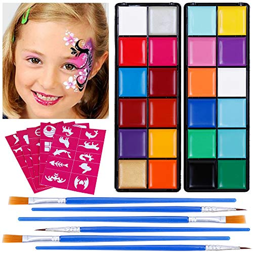 e Set Schminkpalette Face Paint 23 Farben Schminkset mit 5 Schablonen für Kinder Partys Weihnachten Fasching Gesichtsfarben ()