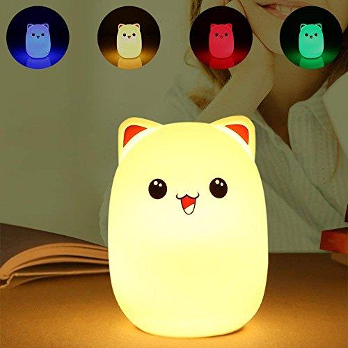 Easehold Lámpara Nocturna Silicona Infantil 7 Colores LED Luz Suave Regarcable con USB Cable Tap Control Regalo para Niños con Cepillo Gratis para Limpiar