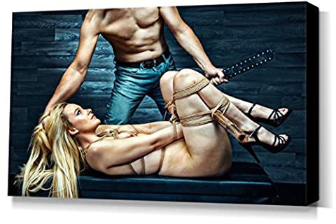 Tied nude - Fine Art of Bondage, sexy erotic XXL stretched canvas, wall art, 40x60 cm, 16