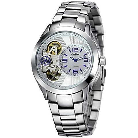 Orologi meccanici automatici skeleton maschile/Da uomo in acciaio impermeabile orologio/ tavola macchina doppio cassonetto-C