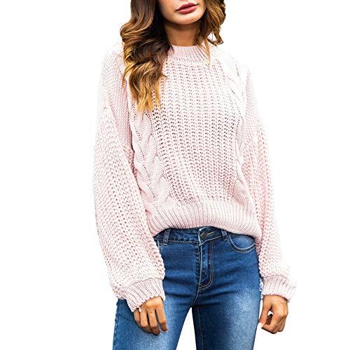 Damen Oberteile MYMYG Damen Plus Size Winter Langarm Sweatshirt Pullover Top Tunika Bluse Herbst und Winter Sweatshirt(Rosa,EU:36/CN-M)