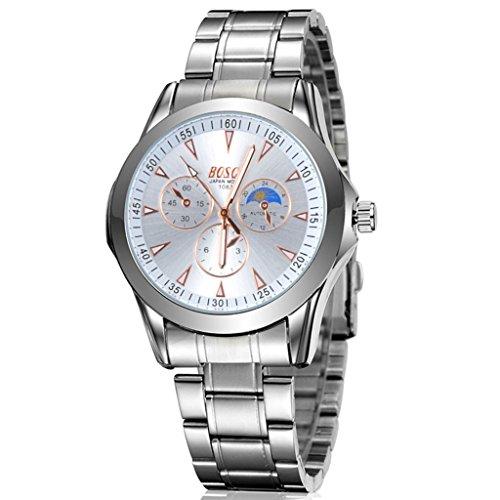 Unendlich U Casual Herren Armbanduhr Orange Zifferblatt mit Chronograph Edelstahl Armband Wasserdicht Analog Quarz Uhr