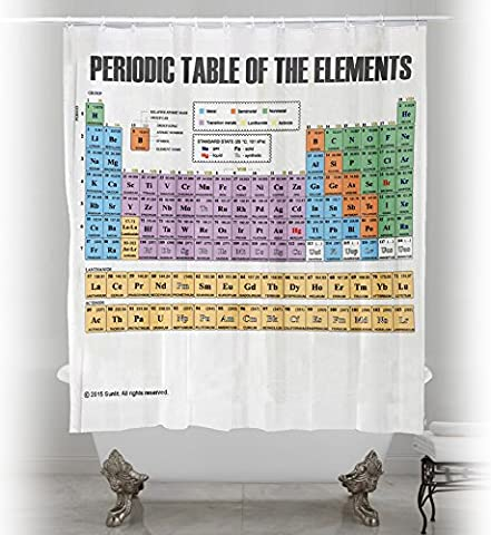 Updated Periodic Table of Elements Chemical Shower Curtain. Waterproof Fabric Scientific Chart. Soft and Odorless.
