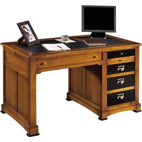 Mesa de laca negra y 3 cajones, madera de cerezo