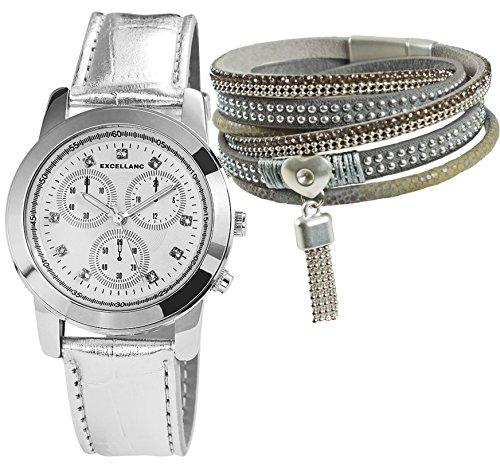 Mytom Reloj, acero en plata de aspecto metálico, Set de regalo con de 5filas de pulsera enroscable de reflectores en piel de imitación komplettiert con remaches y plateadas y piedras