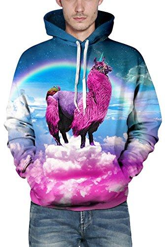 EmilyLe Herren Bunte Pullover mit Taschen Hoodie Long Sleeve Kapuzenpullover 3D Druck Cartoon Muster Sweatshirt Alpaka