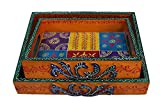 #3: Crafticia Antique Craft Rajasthani Pink City Jaipur Unique Wooden Traditional Handmade Handicraft Spiritual beautiful Serving Trays Set Of 2 Decorative kitchen Gift Item Home / Table / Wall Decor Hanging Showpiece