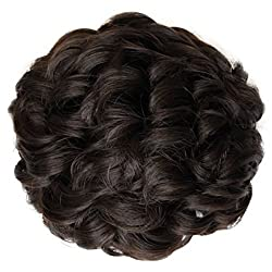 PRETTYSHOP BUN Up Do Hair Piece Hair Ribbon Ponytail Extensions Draw String Scrunchie wavy Brown  4A D104