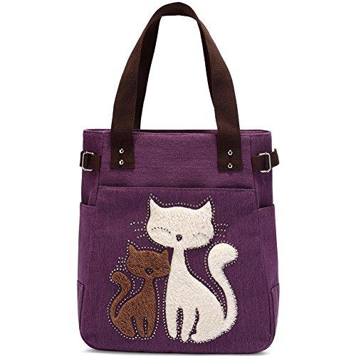 Bolso de Hombro de Las Mujeres con el Bolso de Compras Lindo del Ocio de la Lona del Gato por KAUKKO (Púrpura)