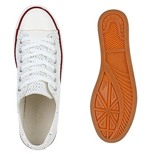 Damen Sneakers Low Glitzer Canvas Schuhe Schnürer Weiß