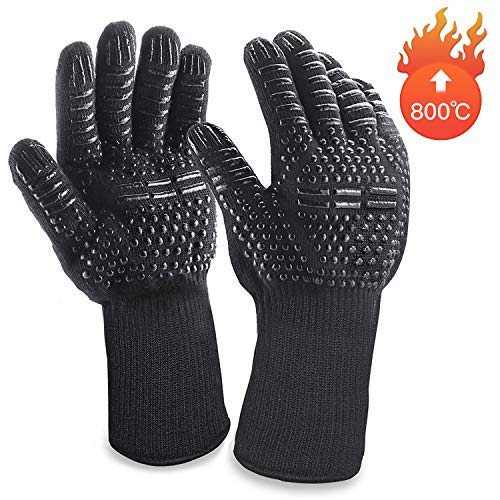 Grillhandschuhe MILcea Ofenhandschuhe Grill Lederhandschuhe Hitzebeständige bis zu 800 ° C Universalgröße Kochhandschuhe Backhandschuhe für BBQ Kochen Backen und Schweißen-Klassisch ()