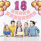 PushingBest 18. Geburtstagsdeko, Rosa Geburtstag Party Deko Set mit Girlande 80cm Folie Ballons Ideal Dekoration Set für 18 Jahre alt Geburtstag für Mädchen und Jungen