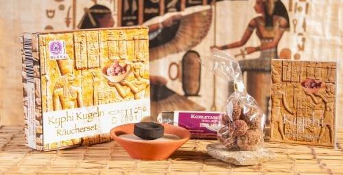Berk Kyphi Pharaonen Räucher-Set komplett mit Tonschale, Sand, Räucherkohle und Kyphi-Kugeln (Intuition-geschenk-set)