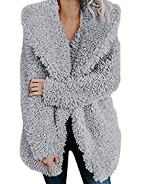 Women Ladies Warm Artificial Wool Coat Lapel Winter Outerwear Bomber Trench Coat Vintage Parka Jacket Long Fur Hooded