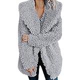 VEMOW Herbst Winter Elegante Frauen Damen Warme Künstliche Wollmantel Jacke Revers Casual Täglichen Freizeit Sport Oberbekleidung(X2-Grau, EU-36/CN-S)