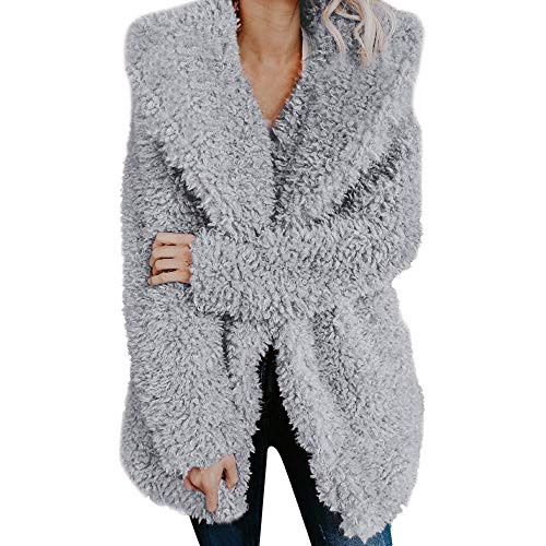 Cooljun Mäntel Damen, Mantel Winter Warm Revers Künstlich Wollmantel Jacke Parka Lose Faux Für Langarm Oberbekleidung Winterjacke Wintermantel Fleecejacke Übergangsjacke Wärmejacke (M, Grau)