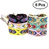 BESTOYARD Geflochtene Armbänder Handgemachte Farbige Seide Schnur Weave Hand Seil für Freunde 6pcs