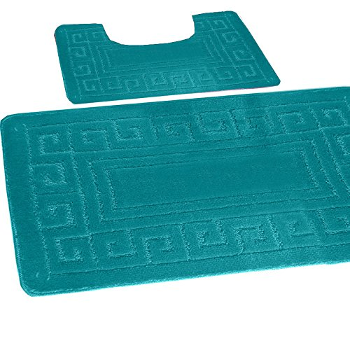 Bath Mat Set 2 Piece Non Slip Rubber Pedestal And Bath Mat Set Toilet Greek  Bathroom Rug New ( Teal )