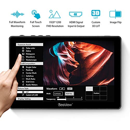 """Desview R7 DSLR Monitor 7"""" Touchscreen 1100nit 1920*1200 Monitor da Campo 4K HDMI In/Output, Waveform/Vector Scope/3D-LUT, Compatibile con Canon Sony Nikon Panasonic Fujifilm Fotocamera"""