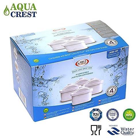 Aqua Crest AK-07 compatibles Brita Maxtra Mavea 106832 Jug cartouches filtrantes (4)