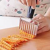 Inovey Edelstahl-Griff-Kartoffel-Karotte-Wellenförmiger Scherblock-Pommes-Frites-Chip-Häcksler-Schneider-Slicer-Häcksler