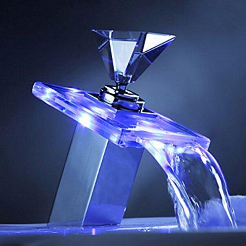 Deluxe Glas Wasserfall Becken Wasserhahn LED Farbwechsel Bad Batterie Mixer Chrom-Finish, LED Wasserfall Glas Farbwechsler Farbwechsel LED Wasserhahn für Waschbecken Bad Chrom-Finish Standmixer -