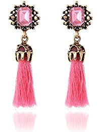 Bold N Elegant Vintage Style Crystal Inlaid Silk Thread Tassel Dangle Drop Earrings Bohemia Vintage Ribbon Earrings...
