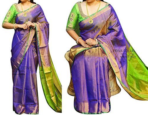 Fashion Flowerz Original Andhra Uppada Tissue Silk Sarees With Blouse For Women...