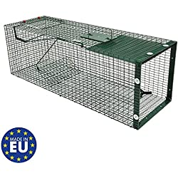 Piège de Capture - Cage - 1 Entrée - Poignée de Transport - 90x30x30cm - Infaillible - pour Chats Castor Lapin