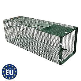 Moorland Trappola a Cassetta Cattura Animali vivi Safe 5002 – per martore, Barbone, Gatti, Volpi -1 Ingresso 90x30x30cm