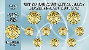 Lot de boutons en métal moulé Blazer b438–Lot de couleur or Crest Boutons