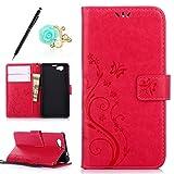 Uposao Kompatibel mit Sony Xperia Z1 Compact Brieftasche Hülle Leder Tasche Handyhülle Schutzhülle Wallet Case Flip Hülle Handy Tasche Lederhülle Schmetterling Blumen Klapphülle,Hot Pink