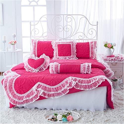 Gesteppte Spitze Bettwäsche Bett Set Prinzessin koreanische Mädchen weiß rosa Bett Rock Set Kissenbezug Rose Bed Set King Size 7pcs ()