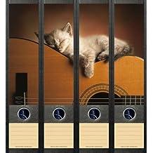 8er Set breite Ordnerr/ücken Katze Gitarre Aufkleber Etiketten Deko 449 070