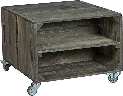 2er Table en boîtes de Fruits Roi avec roulettes Masse 56 x 49 x 38cm Table Basse Tableau canapé Table Boîte à vin Boîte en Bois étagère Caisse de Fruits Altisch de Pluie Table de Salon