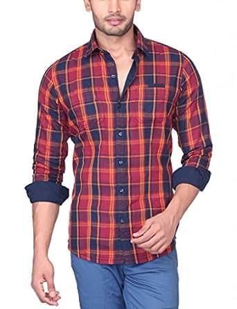 TERZI Men's Slim Fit Cotton 2 Side Wearable Wear Shirt (14070028B_Orange_XX-Large)