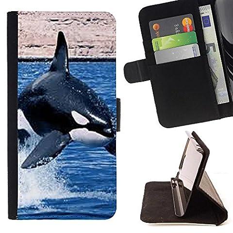 STPlus L'orque baleine Coque Portefeuille Housse de Protection Étui pour Samsung Galaxy Grand Prime