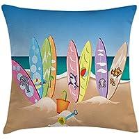 fringcoook Ocean Decor Funda de cojín, una colección ilustrativa de tablas de surf en la