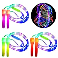 Danolt 3 Pcs Glowing Skipping Rope Kids, 2 in 1 Fitness Jump Rope Light Up Toys Glow in Dark Flashing Gift for Kids Adults Party, Keeping Fit, Weight Loss